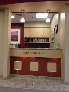 Reception area at the eye surgery center